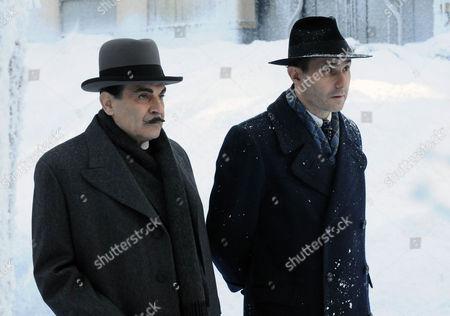 David Suchet as Hercule Poirot and Serge Hazanavicius as Xavier Bouc.