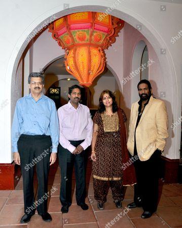 Stock Photo of Director Jitendra M Desai, director Venkatesh Rao, Anuradha J Desai, Chairperson, VH Group and Balaji Rao