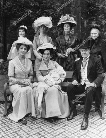Back Row: Pauline Collins as Sarah, Sarah MacDonald as Godmother, Helen Lindsay as Mrs Wills and Daphne Heard as Nanny Webster. Front Row: Rachel Gurney as Lady Marjorie Bellamy, Nicola Pagett as Elizabeth Kirbridge with Liesl Dallinson as Baby Lucy and David Langton as Richard Bellamy