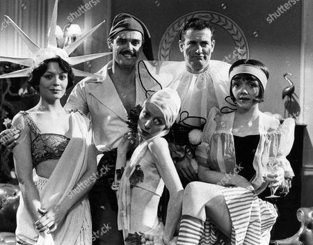 Stock Image of Lesley Anne Down as Georgina, Simon Williams as James Bellamy, Madeleine Cannon as Lady Dolly Hale, John Quayle as Bunny Newbury and Celia Bannerman as Diana Newbury