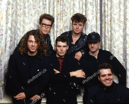 INXS at a hotel room in Glasgow circa 1988 - from left Michael Hutchence, Kirk Pengilly, Jon Farris, Tim Farriss, Garry Gary Beers and Andrew Farris