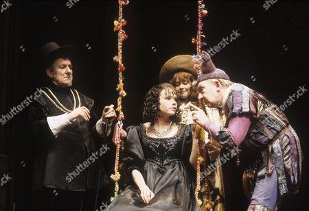 'Twelfth Night' performed at the Playhouse Theatre - Eric Porter (Malvolio), Sara Crowe (Olivia), Maria Miles (Viola) and David Ryall (Feste)