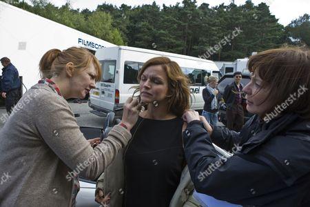 Stock Picture of Car crash scene general behind the scenes filming camera crew - Stine Stengade