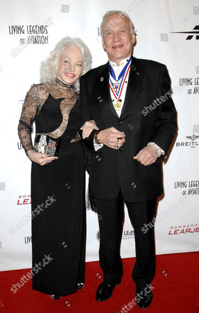 Stock Picture of Lois Driggs Cannon and Buzz Aldrin