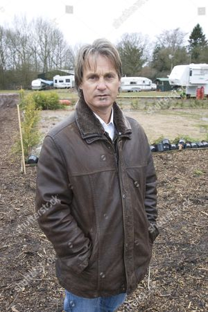 Stock Photo of Noah Burton whose owns and lives on a traveller's site in Meriden, Warwickshire where locals are compaigning against his presence