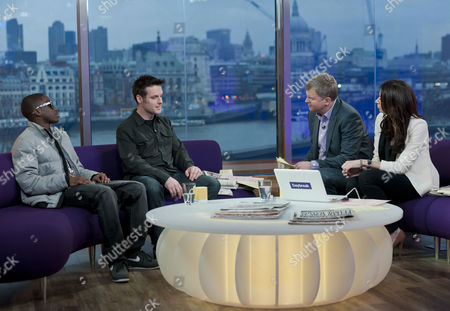 Tinchy Stryder and Nick Baker with Adrian Chiles and Christine Bleakley