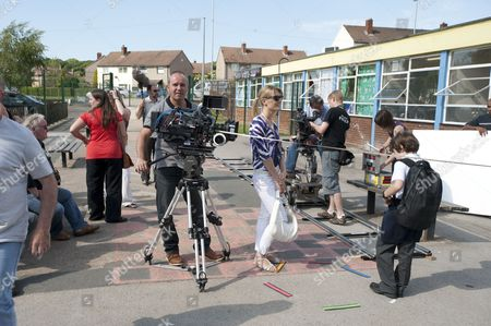 Behind the scenes, filming, camera, Sally Oliver as Kerry