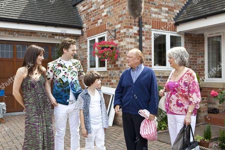 Stock Photo of Anna Wilson Jones as Christina, Shaun Evans as David and Drew Blackall as Cameron, David Jason as Don and Alison Steadman.