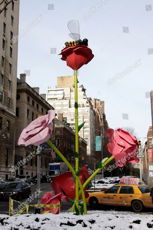 A giant floral art installation that is part of public art exhibit 'The Roses' by artist Will Ryman