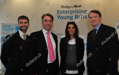Lord Peter Mandelson With L To R Scott Cain Chief Executive Of Enterprise UK Miles Templeman Director General Of The Institute Of Directors And Priya Lakhani Masala Masala Last Years Winner At The Launch Event For The Daily Mail Enterprising Young Brits Awards.