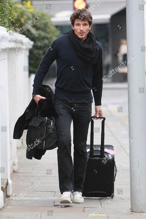 Editorial image of Andres Velencoso Segura leaving Kylie Minogue's home, London, Britain - 26 Jan 2011