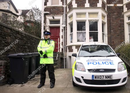 Police outside the address in Bristol where suspect Vincent Tabak has been staying
