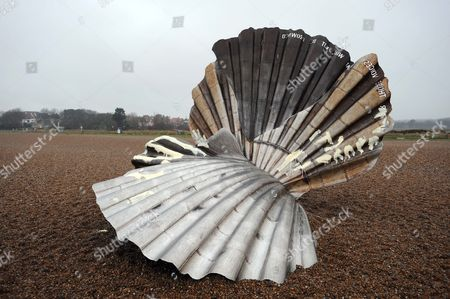 Editorial image of Controversial 'The Scallop' sculpture by Maggie Hambling vandalised, Aldeburgh beach, Suffolk, Britain - 26 Jan 2011