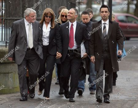 Gail's father Gus Healey, Gail Sheridan, Tommy Sheridan and lawyer Aamer Anwar