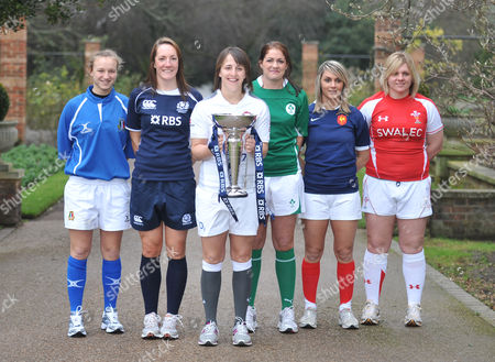 Stock Picture of The Captains - Paola Zangirolami of Italy, Susie Brown of Scotland, Katie McLean, captain of England, Fiona Coughlan of Ireland, Marie Alice Yahe of France and Katherine Edwards of Wales