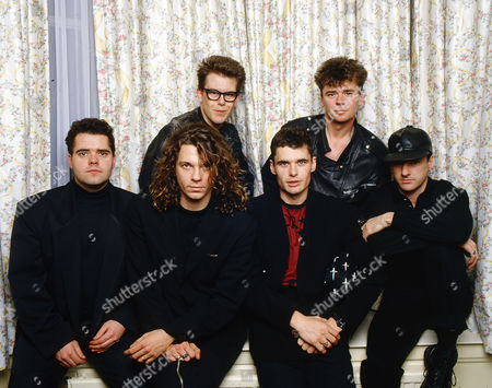 INXS in a hotel room in Glasgow - L-R Michael Hutchence, Kirk Pengilly, Jon Farris, Tim Farriss, Garry Gary Beers and Andrew Farris