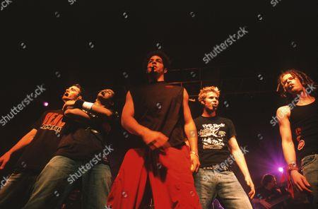 O Town in concert, Germany - Dan Miller, Eric Michael Estrada, Trevor Penick, Ashley Parker Angel and Jacob Underwood