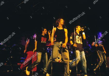 O Town in concert, Germany - Trevor Penick, Dan Miller, Jacob Underwood, Eric Michael Estrada and Ashley Parker Angel