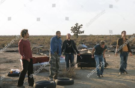Stock Image of O Towns - Ashley Parker Angel, Dan Miller, Eric Michael Estrada, Trevor Penick and Jacob Underwood on the set of 'These Are The Days' video, Desert Palms, California