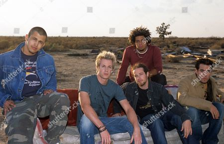 On the set of 'These Are The Days' video, Desert Palms, California - Eric Michael Estrada, Ashley Parker Angel, Jacob Underwood, Trevor Penick and Dan Miller