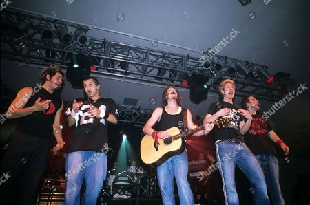O Town in concert in Dublin, Ireland - Trevor Penick, Eric Michael Estrada, Jacob Underwood, Ashley Parker Angel and Dan Miller