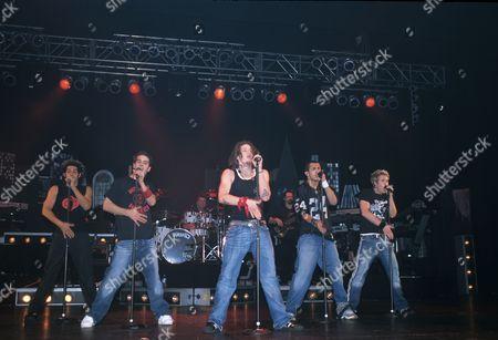 O Town in concert in London, Britain - Trevor Penick, Dan Miller, Jacob Underwood, Eric Michael Estrada and Ashley Parker Angel