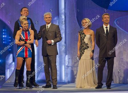 Dominic Cork with Dancing partner Alexandra Schauman, presenters, Phillip Schofield, Jayne Torvill and Christopher Dean