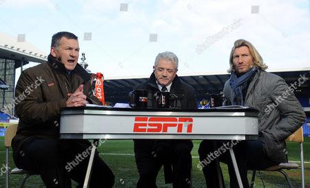 ESPN presenter Ray Stubbs at work alongside pundits Kevin Keegan and Robbie Savage