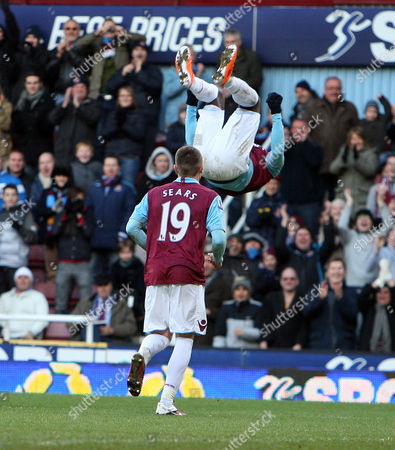 Victor Obinna of West Ham United celebrates scoring a goal from the penalty spot to make the score 3-2