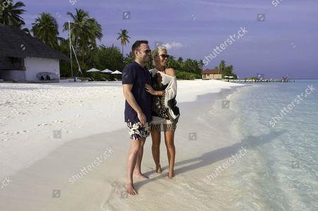 Sarah Harding and fiancee Tom Crane.