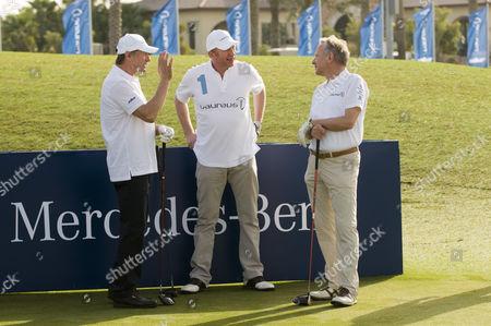 Boris Becker with his playing partners, Franz Klammer and Dr Joachim Schmidt