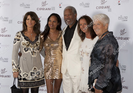 Morgan Freeman, Michelle Moses (2nd L), Layne Beachley (2nd R) and Academy member Dawn Fraser (R)