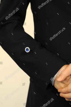 Reproduction of Kate Middleton's engagement ring on the arm of 'Prince William'