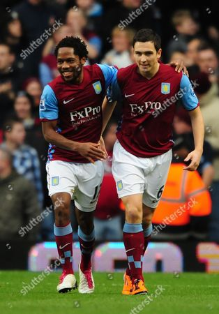 Stock Image of Jean II Makoun AND Stewart Downing of Aston Villa celebrate the opening goal