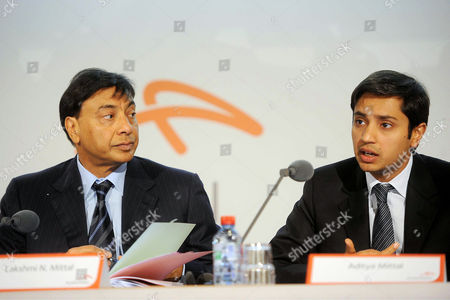 The chairman of the board of directors and chief executive officer of the world's largest steel company, ArcelorMittal, Lakshmi Mittal (L), with his son Aditya Mittal (R), chief financial officer and member of the group management board