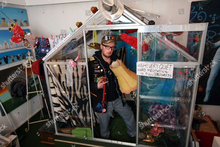 Editorial picture of Comedian Matt Whistler, who plans to live on display in a greenhouse for 30 days, Brighton, Britain - 05 Feb 2011