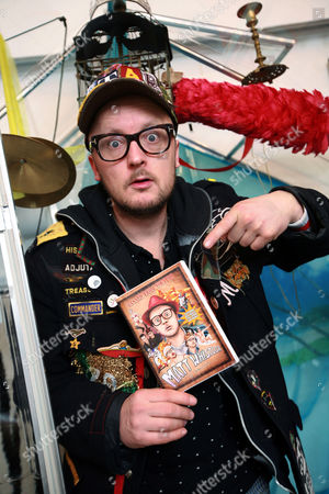 Stock Picture of Matt Whistler inside the greenhouse at the Julie-Anne Gilburt art gallery that he will be living in for 30 days