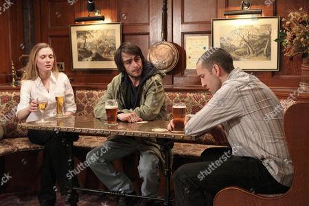 Sam Dingle [James Hooton] is put out when Olena Petrovich [Carolin Stoltz] says she wants to stay with Eli Dingle [Joe Gilgun].