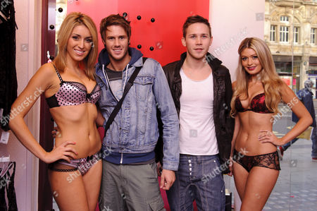 JJ Bird and John James Parton from Big Brother 11 with models wearing Ann Summers underwear