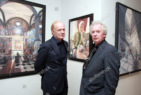 Film producer Stephen Evans and artist John Wonnacott at Agnews Gallery, Bond Street, London