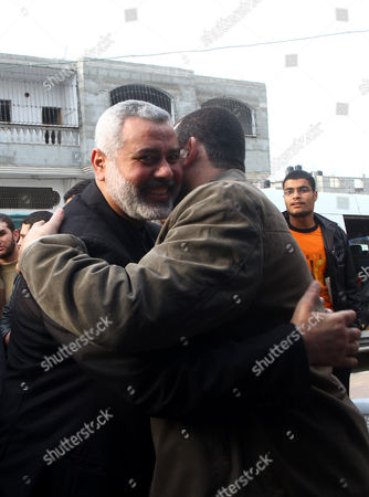 Editorial photo of Ismail Haniyeh Greets Hamas Armed Commander Ayman Nofal Upon His Arrival to His Home in Nusairat Refugee Camp, Gaza Strip - 06 Feb 2011