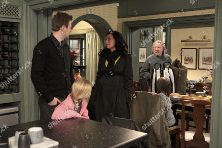 Carl King [Tom Lister] and Nicola De Souza argue as Chas Dingle [Lucy Pargeter] walks in with Shadrach Dingle [Andy Devine].