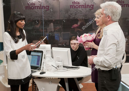 Phillip Schofield and Holly Willoughby with Samanthi