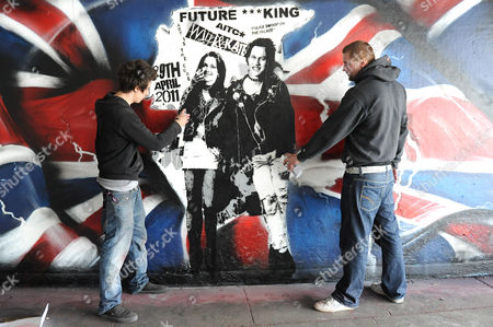 Kate Middleton and Prince William artwork with artists Rich Simmons and Eska