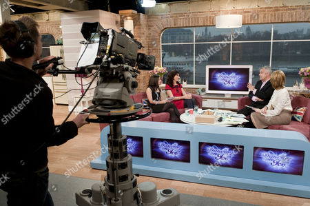 Hayley Tamaddon and Gaynor Faye with Eamonn Holmes and Ruth Langsford. Studio, set, camera.