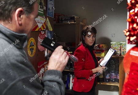 Terry Woods [Billy Hartman] confronts Viv Hope [Deena Payne] about finding her keys.