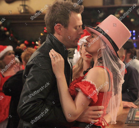 It's Chas Dingle [Lucy Pargeter] hen do and she's making Eve Jenson drink all her forfeit drinks and making her do the dares - she kisses Terry Woods [Billy Hartman].