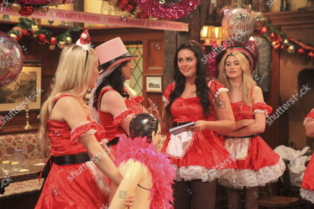 It's Chas Dingle [Lucy Pargeter] hen do and she's making Eve Jenson [Suzanne Shaw] drink all her forfeit drinks and making her do the dares - she kisses Terry Woods The boys turn up on the stag do and crash the party.