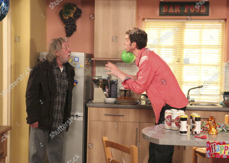 Marlon Dingle [Mark Charnock] confronts Shadrach Dingle [Andy Devine]  when he turns up to his party late.