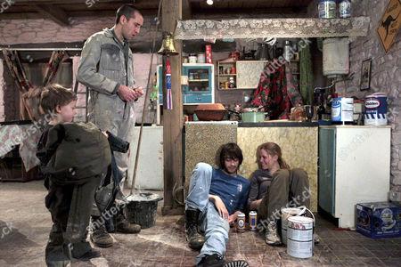 Sam Dingle [James Hooton] is jealous when Eli Dingle [Joe Gilgun] makes Olena Petrovich [Carolin Stoltz] laugh.